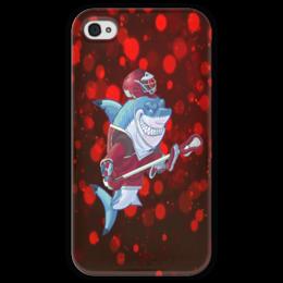 "Чехол для iPhone 4 глянцевый, с полной запечаткой ""Акула"" - спортсмен, красный, краски, рыба, акула"