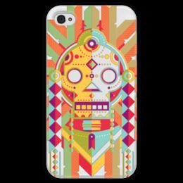 """Чехол для iPhone 4 глянцевый, с полной запечаткой """"Indian Skull"""" - череп, этно, индейцы"""