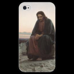 """Чехол для iPhone 4 глянцевый, с полной запечаткой """"Христос в пустыне (картина Крамского)"""" - картина, крамской"""