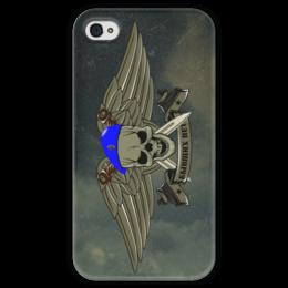 """Чехол для iPhone 4 глянцевый, с полной запечаткой """"ВДВ !!!"""" - армия, нож, вдв, десант, голубой берет"""