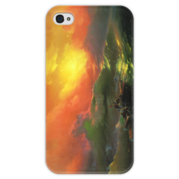 """Чехол для iPhone 4 глянцевый, с полной запечаткой """"Девятый вал (картина Айвазовского)"""" - картина, айвазовский"""
