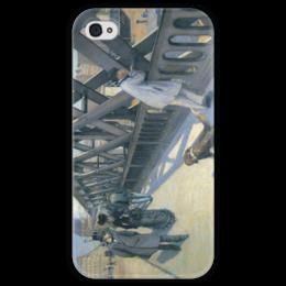 """Чехол для iPhone 4 глянцевый, с полной запечаткой """"Мост Европы (картина Кайботта)"""" - картина, кайботт"""