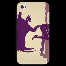 """Чехол для iPhone 4 глянцевый, с полной запечаткой """"Batman x Catwoman"""" - batman, бэтмен, женщина-кошка, catwoman, bruce wayne"""
