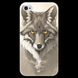 """Чехол для iPhone 4 глянцевый, с полной запечаткой """"Лиса """" - арт, fox, лиса"""