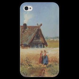 """Чехол для iPhone 4 глянцевый, с полной запечаткой """"Кутузовская изба"""" - картина, саврасов"""