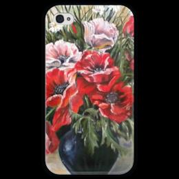"""Чехол для iPhone 4 глянцевый, с полной запечаткой """"Цветы"""" - арт, цветы, red, красный, мак, poppy"""