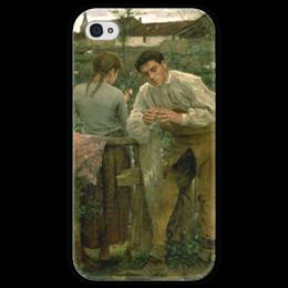 """Чехол для iPhone 4 глянцевый, с полной запечаткой """"Деревенская любовь"""" - картина, бастьен-лепаж"""