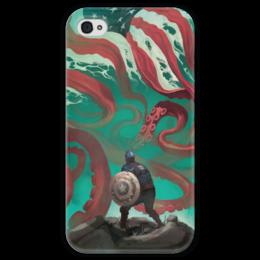 """Чехол для iPhone 4 глянцевый, с полной запечаткой """"Капитан Америка"""" - комиксы, ктулху, кэп, марвел, captain america"""