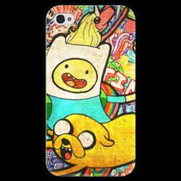 "Чехол для iPhone 4 глянцевый, с полной запечаткой ""Adventure Time"" - adventure time, время приключений, фин, джейк, at, jake, finn, ливнерог, адвенчур тайм, ladyraynicorn"