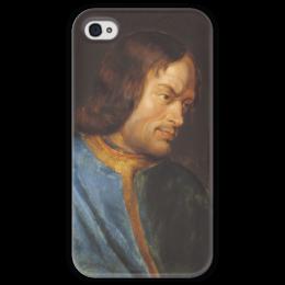 """Чехол для iPhone 4 глянцевый, с полной запечаткой """"Портрет Лоренцо Медичи"""" - картина, рубенс"""
