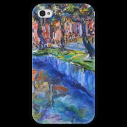 """Чехол для iPhone 4 глянцевый, с полной запечаткой """"Амстердам"""" - улица, река, street, amsterdam"""