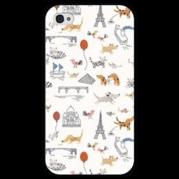 """Чехол для iPhone 4 глянцевый, с полной запечаткой """"World Animals"""" - кот, мир, птица, птицы, собака, кошки, коты, birds, собаки, cats"""