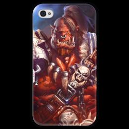"""Чехол для iPhone 4 глянцевый, с полной запечаткой """"WarCraft: Орк"""" - wow, warcraft, орк, варкрафт, ork"""