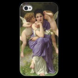 """Чехол для iPhone 4 глянцевый, с полной запечаткой """"Песни весны (Chansons de printemps)"""" - картина, бугро"""
