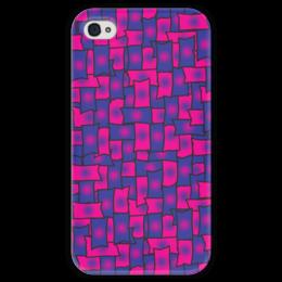 """Чехол для iPhone 4 глянцевый, с полной запечаткой """"Прямоугольники"""" - черный, красный, синий, край, прямоугольник"""