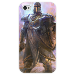 """Чехол для iPhone 4 глянцевый, с полной запечаткой """"Крестоносец"""" - blizzard, диабло, близзард, diablo iii, crusader"""