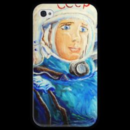"""Чехол для iPhone 4 глянцевый, с полной запечаткой """"Космос СССР"""" - ручная работа, детский рисунок, от детей, детская работа"""