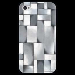 """Чехол для iPhone 4 глянцевый, с полной запечаткой """"Композиция в сером"""" - картина, дусбург"""