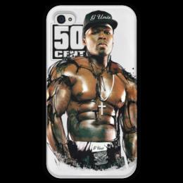 """Чехол для iPhone 4 глянцевый, с полной запечаткой """"50 Cent """" - 50 cent, 50cent, фифти"""