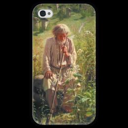 """Чехол для iPhone 4 глянцевый, с полной запечаткой """"Пасечник (картина Крамского)"""" - картина, крамской"""