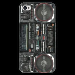 """Чехол для iPhone 4 глянцевый, с полной запечаткой """"бумбокс """" - ретро чехол айфон, бумбокс чехол айфон, iphone 4 бумбокс, boombox, old school"""