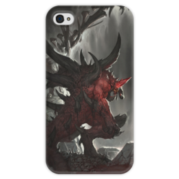"""Чехол для iPhone 4 глянцевый, с полной запечаткой """"Diablo"""" - blizzard, диабло, пещера, близзард"""
