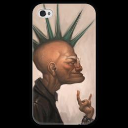 """Чехол для iPhone 4 глянцевый, с полной запечаткой """"This is Rock"""" - рок, rock, punk, панк, ирокез, mohawk"""