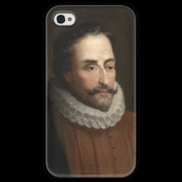 """Чехол для iPhone 4 глянцевый, с полной запечаткой """"Портрет Мигеля Сервантеса"""" - картина, балака"""