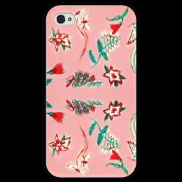 """Чехол для iPhone 4 глянцевый, с полной запечаткой """"Цветочная сказка"""" - цветы, рай, птички"""