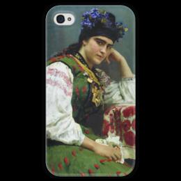 """Чехол для iPhone 4 глянцевый, с полной запечаткой """"Портрет Софьи Драгомировой"""" - картина, серов"""
