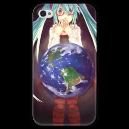 """Чехол для iPhone 4 глянцевый, с полной запечаткой """"Аниме Мику """" - земля, космос, vocaloid, вокалид, аниме"""