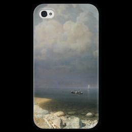 """Чехол для iPhone 4 глянцевый, с полной запечаткой """"Ладожское озеро (картина Архипа Куинджи)"""" - картина, архип куинджи"""