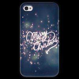 """Чехол для iPhone 4 глянцевый, с полной запечаткой """"Merry Christmas"""" - winter, magic, new year, christmas, holidays"""