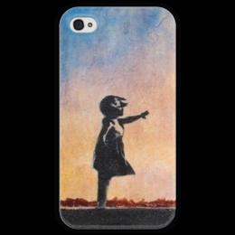 """Чехол для iPhone 4 глянцевый, с полной запечаткой """"Девочка"""" - граффити, banksy, street art, бэнкси, уличное искусство"""