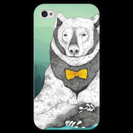"""Чехол для iPhone 4 глянцевый, с полной запечаткой """"Интеллигентный мишка"""" - bear, медведь, мишка, белый, лес, графика, бантик, природа, animal, животное"""