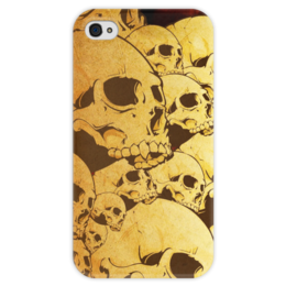 """Чехол для iPhone 4 глянцевый, с полной запечаткой """"Черепа"""" - skull, череп, sticker, наклейка"""