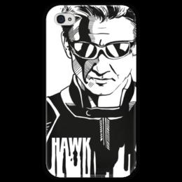 """Чехол для iPhone 4 глянцевый, с полной запечаткой """"Соколиный Глаз"""" - комиксы, мстители, avengers, марвел, hawkeye"""