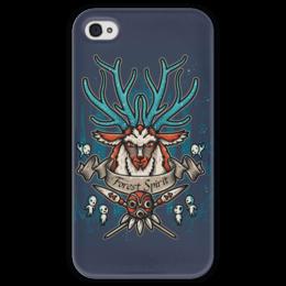"""Чехол для iPhone 4 глянцевый, с полной запечаткой """"Forest Spirit. Лесной Дух"""" - рисунок, олень, фэнтэзи, лесной дух"""