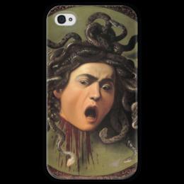 "Чехол для iPhone 4 глянцевый, с полной запечаткой ""Медуза (картина Караваджо)"" - картина, караваджо"