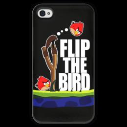 """Чехол для iPhone 4 глянцевый, с полной запечаткой """"Flip The Bird"""" - angry birds, злые птицы, flip the bird"""