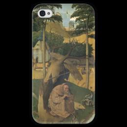 """Чехол для iPhone 4 глянцевый, с полной запечаткой """"Искушение святого Антония (картина Босха)"""" - картина, босх"""