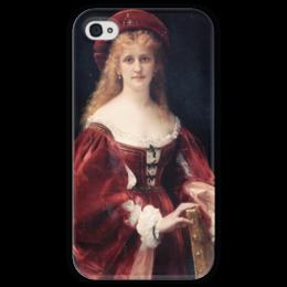 """Чехол для iPhone 4 глянцевый, с полной запечаткой """"Портрет аристократки из Венеции"""" - картина, кабанель"""