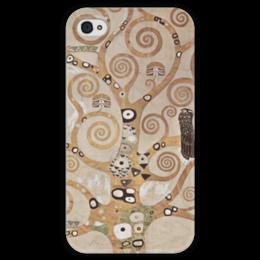 """Чехол для iPhone 4 глянцевый, с полной запечаткой """"Древо жизни"""" - картина, климт"""