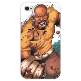 "Чехол для iPhone 4 глянцевый, с полной запечаткой ""Люк Кейдж"" - комиксы, марвел, luke cage, люк кейдж, карл лукас"
