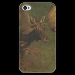 """Чехол для iPhone 4 глянцевый, с полной запечаткой """"Лось (Study of a moose)"""" - картина, бирштадт"""