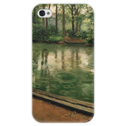 """Чехол для iPhone 4 глянцевый, с полной запечаткой """"Иер. Эффект дождя"""" - картина, кайботт"""