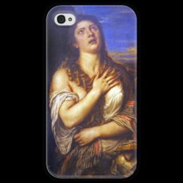 """Чехол для iPhone 4 глянцевый, с полной запечаткой """"Кающаяся Мария Магдалина (Тициан)"""" - картина, тициан"""