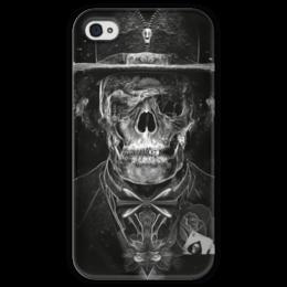 """Чехол для iPhone 4 глянцевый, с полной запечаткой """"Mr. Skull"""" - skull, череп, костюм, фокусник"""