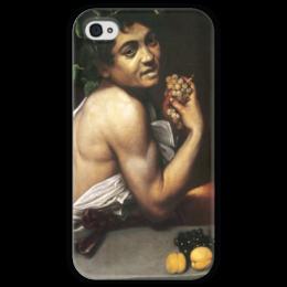 """Чехол для iPhone 4 глянцевый, с полной запечаткой """"Больной Вакх (Караваджо)"""" - картина, караваджо"""