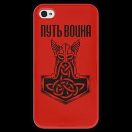 """Чехол для iPhone 4 глянцевый, с полной запечаткой """"Путь воина"""" - свобода, предки, история, викинги, путь воина"""